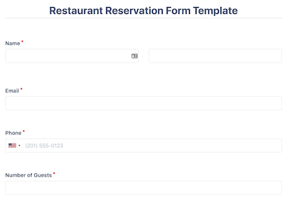 Restaurant Reservation Form